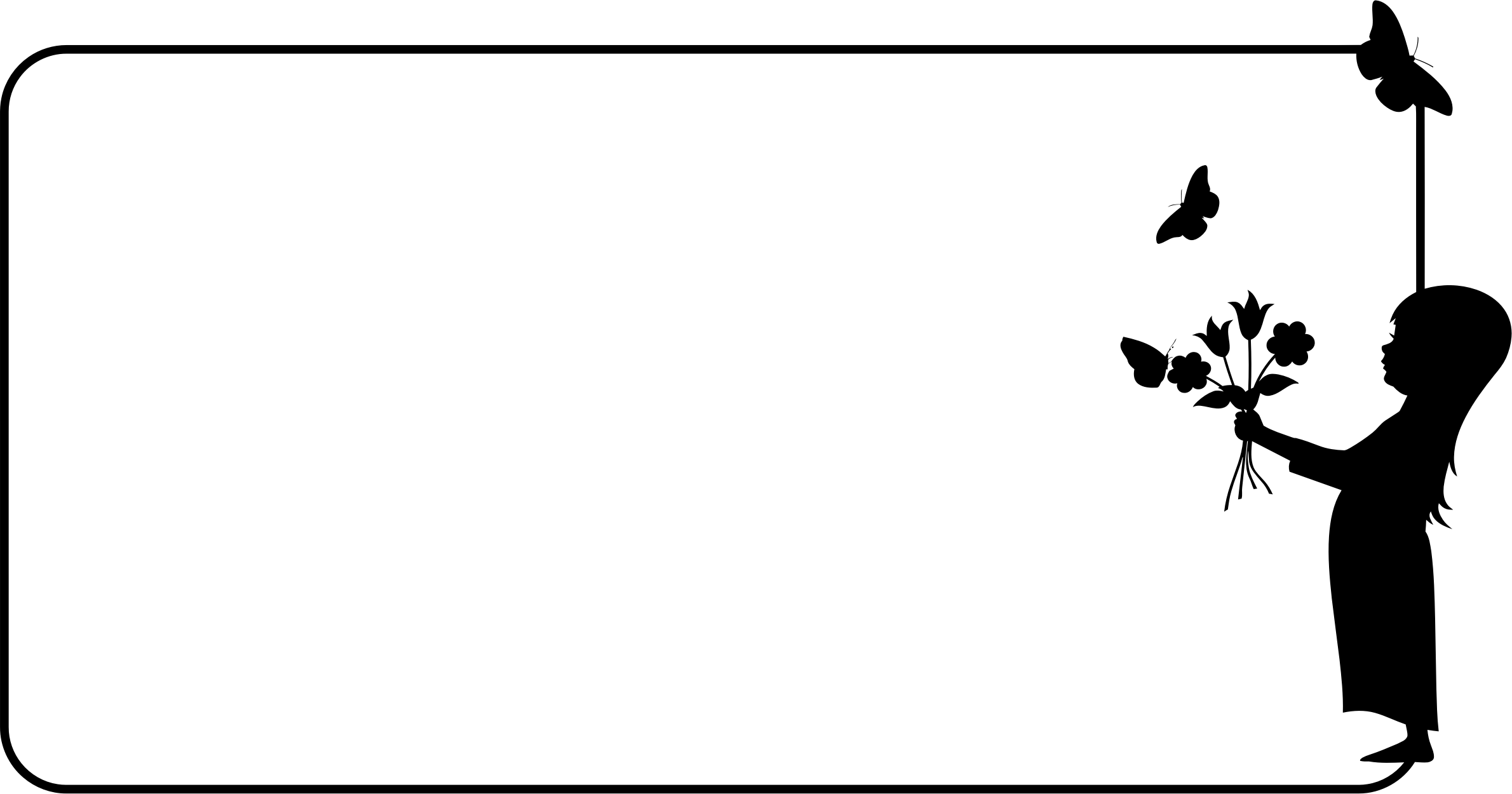 Flower frame clipart black and white vector Clipart - Girl With Flowers Frame vector
