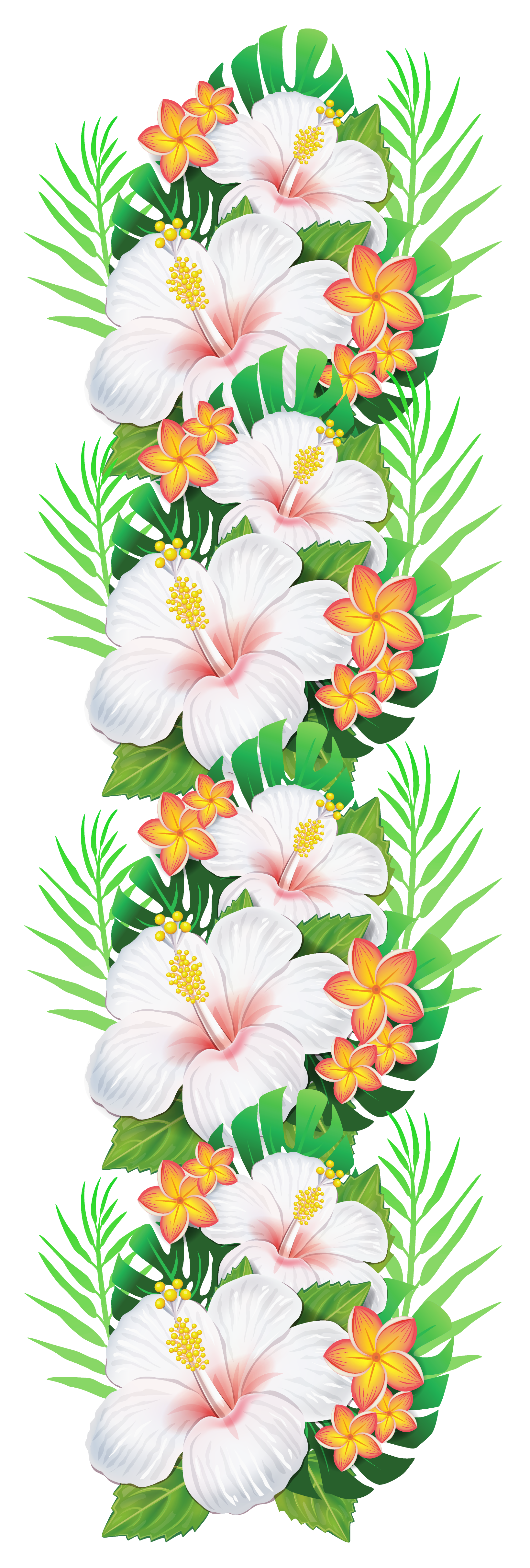 Tropical christmas clipart vector freeuse library White Exotic Flowers Decoration PNG Clipart | Gallery Yopriceville ... vector freeuse library