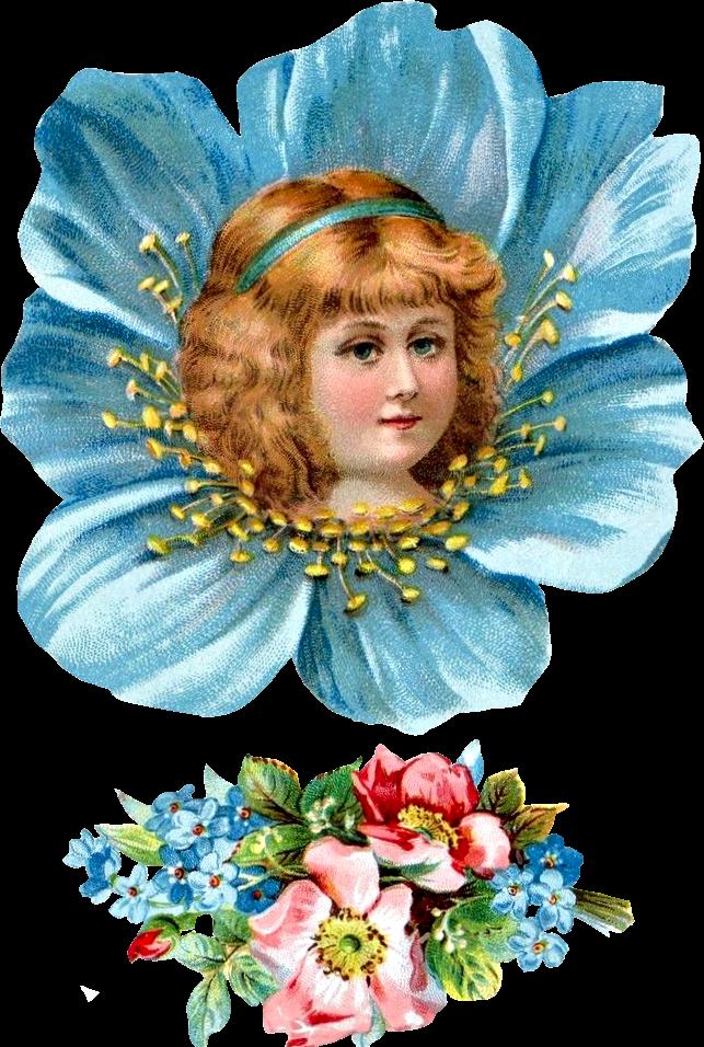 Free victorian girl . Flower head clipart