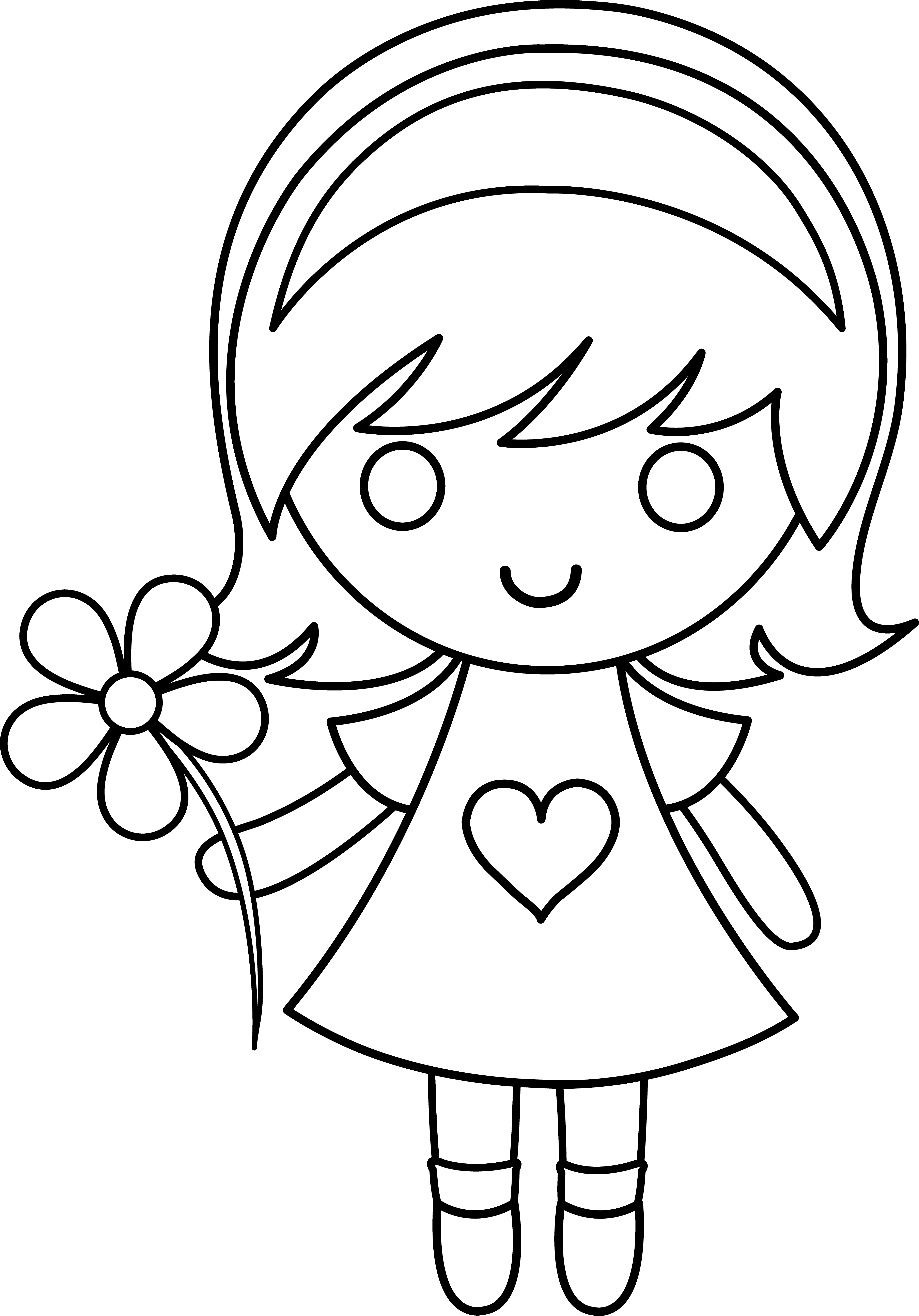 Flower girl clipart black and white picture Girl With Flower Drawing at GetDrawings.com | Free for personal use ... picture