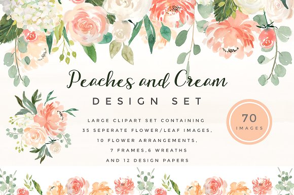 Flower graphic images image royalty free stock Peaches and Cream Flower Graphic Set ~ Illustrations on Creative ... image royalty free stock