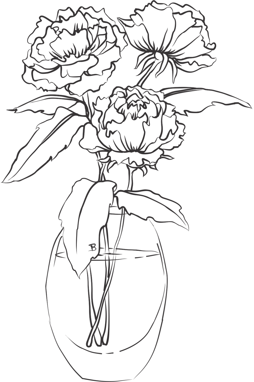 Flower vase clipart black and white image download 28+ Collection of Single Flower In Vase Drawing   High quality, free ... image download