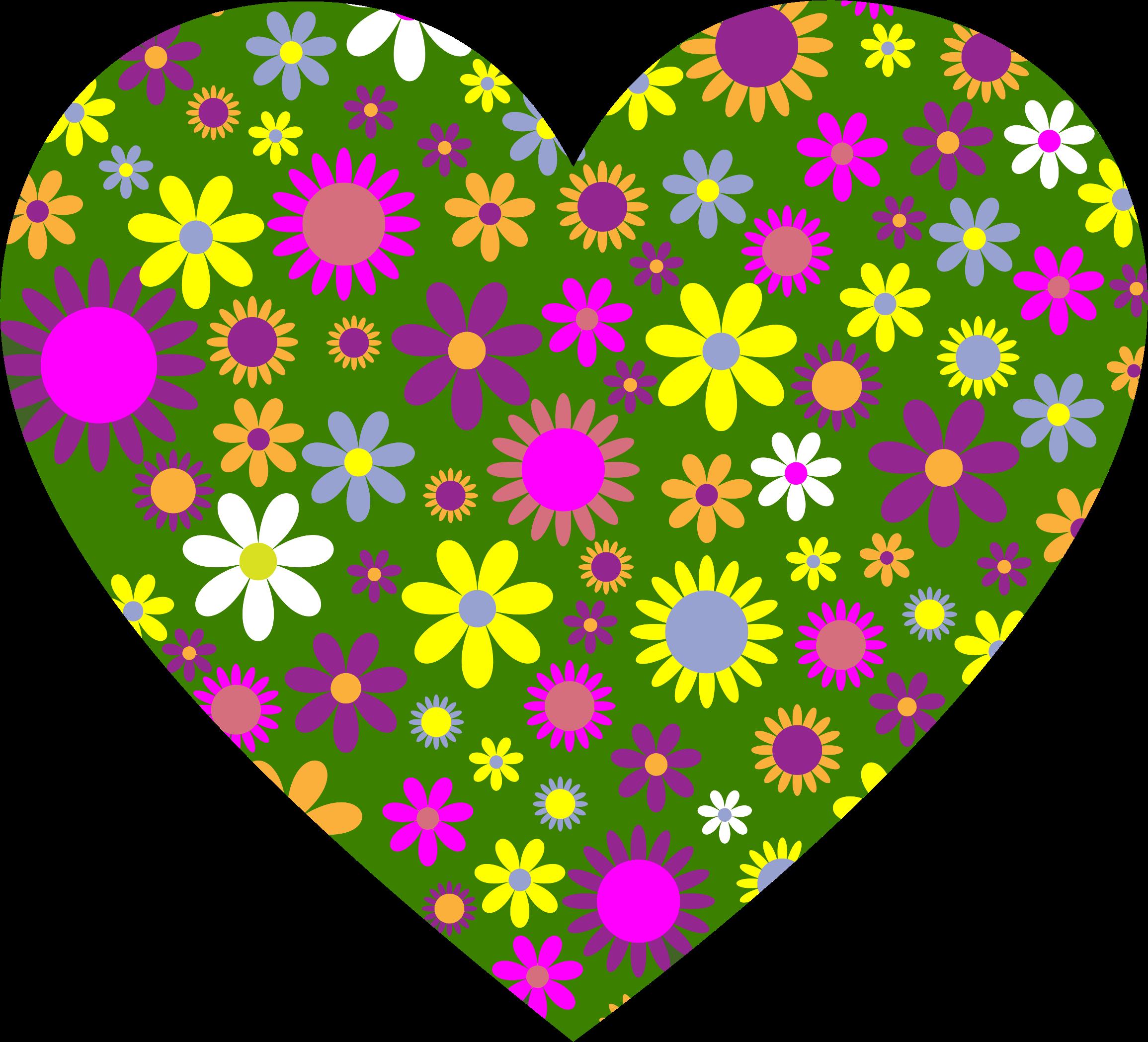 Flower heart clipart vector transparent library Clipart - Retro Floral Heart vector transparent library