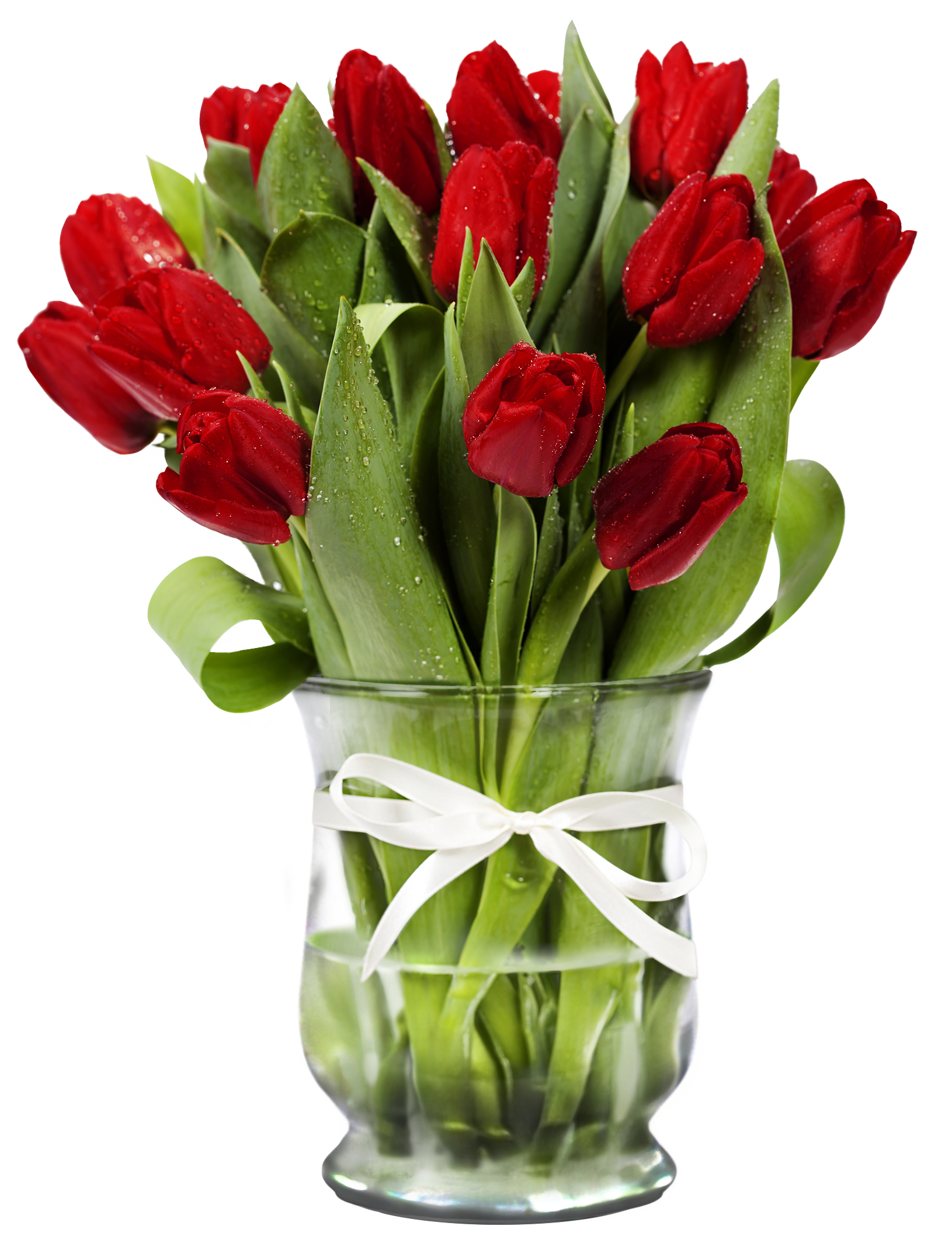 Flower in a vase clipart image Transparent Vase with Red Tulips | Gallery Yopriceville - High ... image