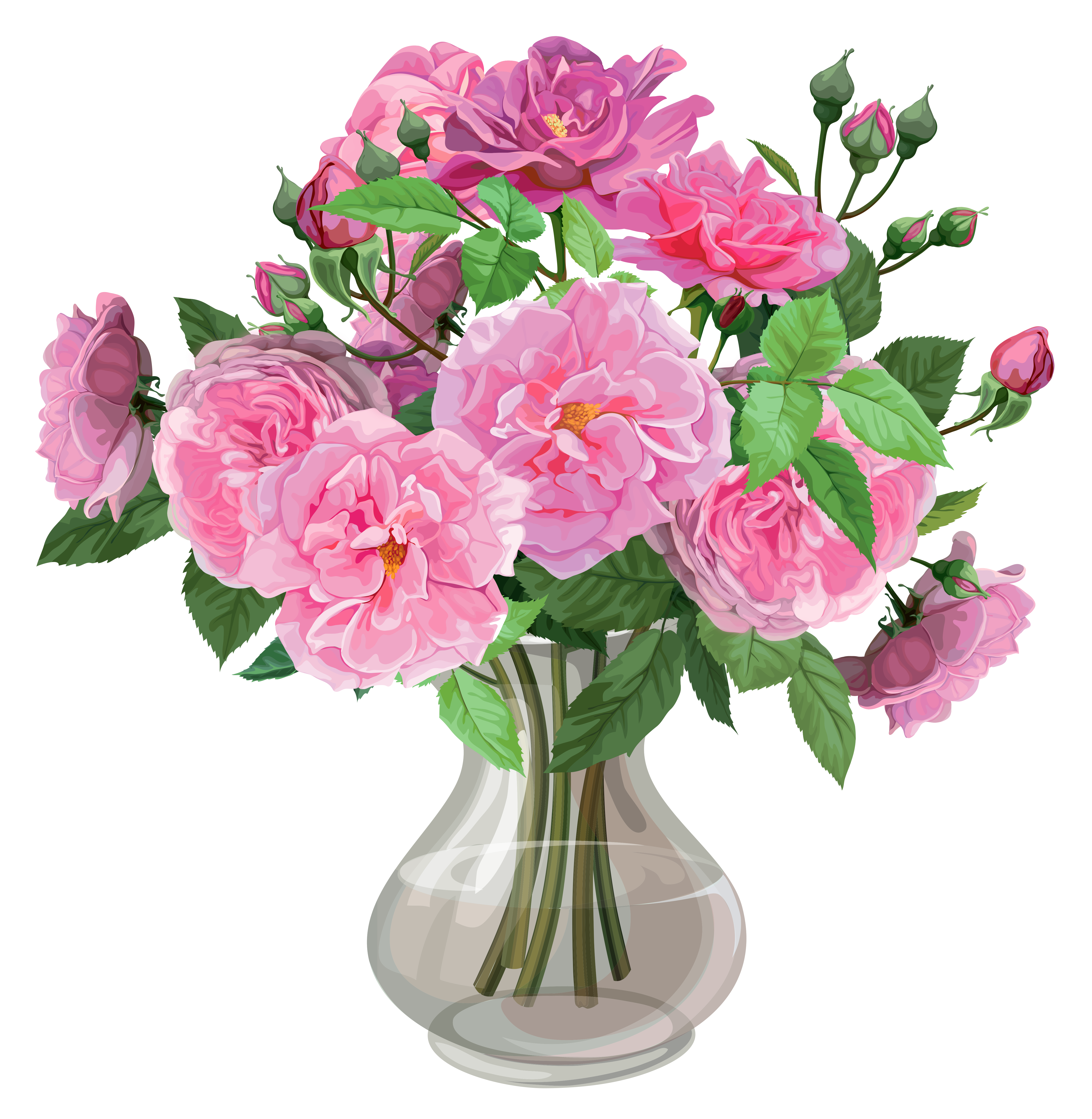 Flower in vase clipart clip free library Pink Roses in Vase Transparent PNG Clipart | Gallery Yopriceville ... clip free library