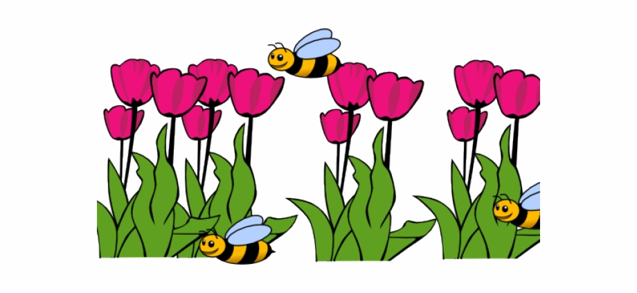 Flower in the garden clipart. Bee png transparent