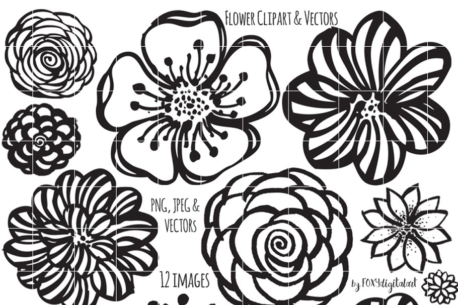 Flower ink clipart royalty free library Flower Clipart Hand Painted Brush royalty free library