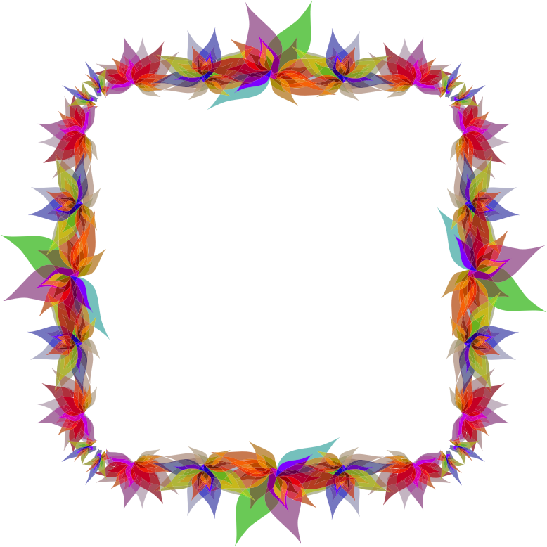 Abstract flowers frame medium. Flower lei clipart