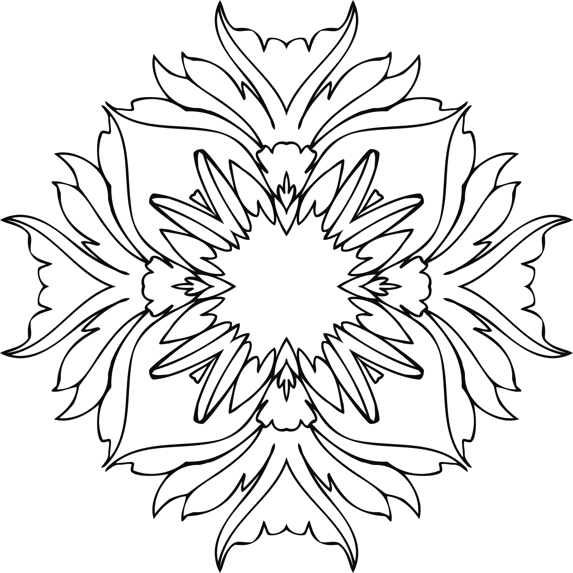 Flower line clipart png library download Clipart - Flower Line Art 5 png library download