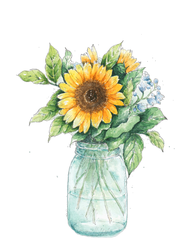 Ftestickers watercolor sunflower masonjar. Flower mason jar clipart