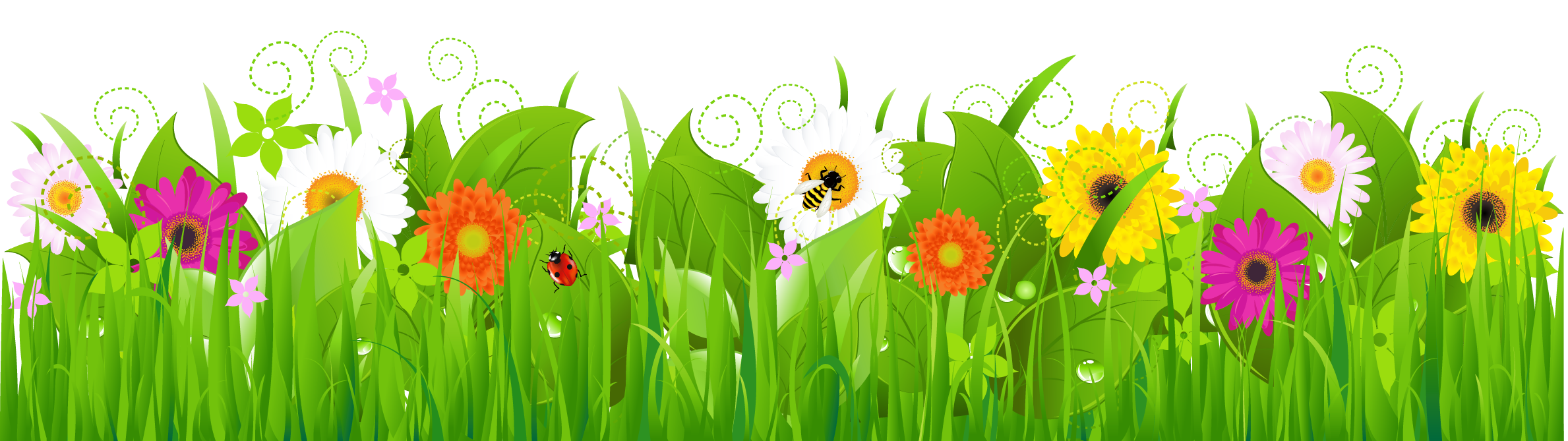 collection of and. Flower meadow clipart