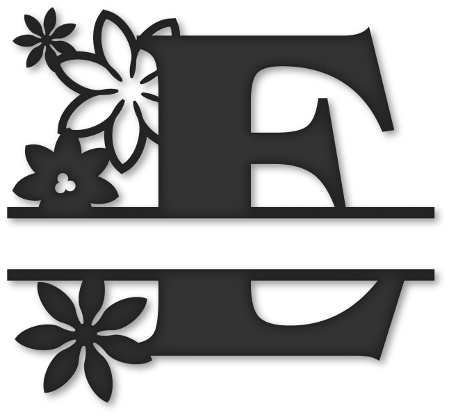 Flower monogram clipart. Split e snapdragon snippets