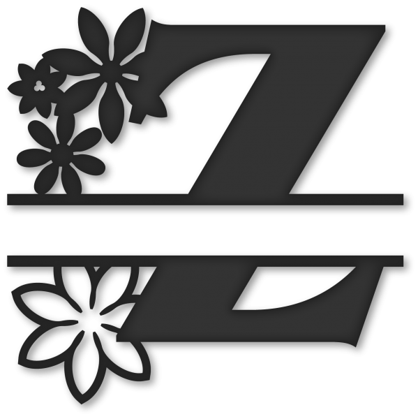 Split z snapdragon snippets. Flower monogram clipart