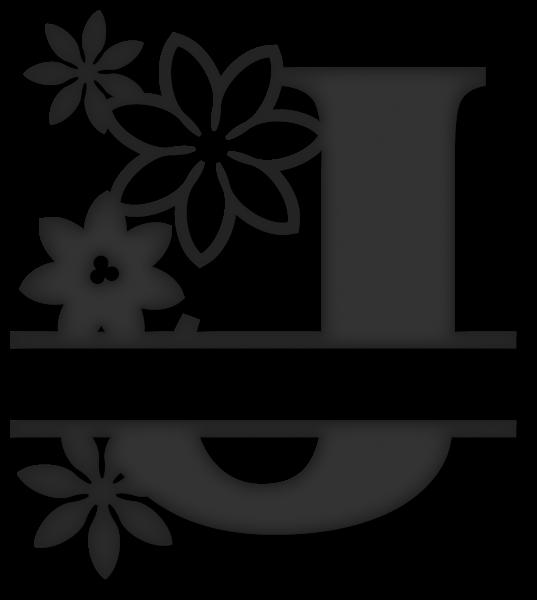 Split j snapdragon snippets. Flower monogram clipart