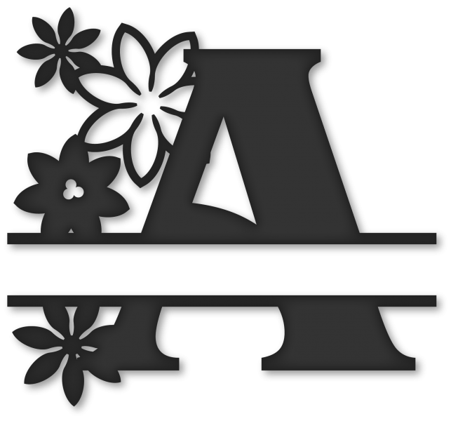 Flower monogram clipart. Split a snapdragon snippets
