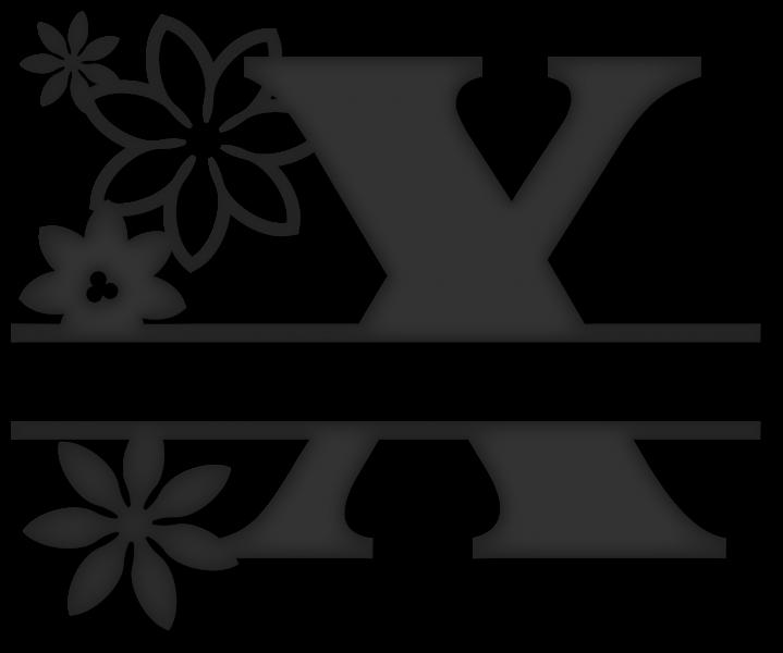 Split x snapdragon snippets. Flower monogram clipart