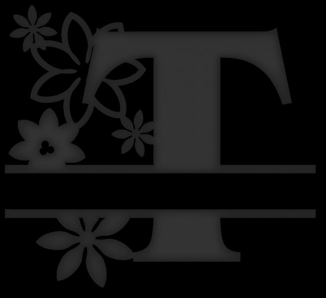 Split t snapdragon snippets. Flower monogram clipart
