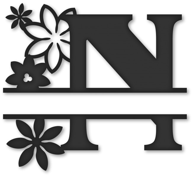 Split n snapdragon snippets. Flower monogram clipart