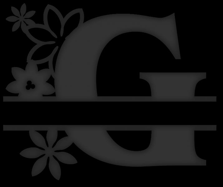 Split g snapdragon snippets. Flower monogram clipart