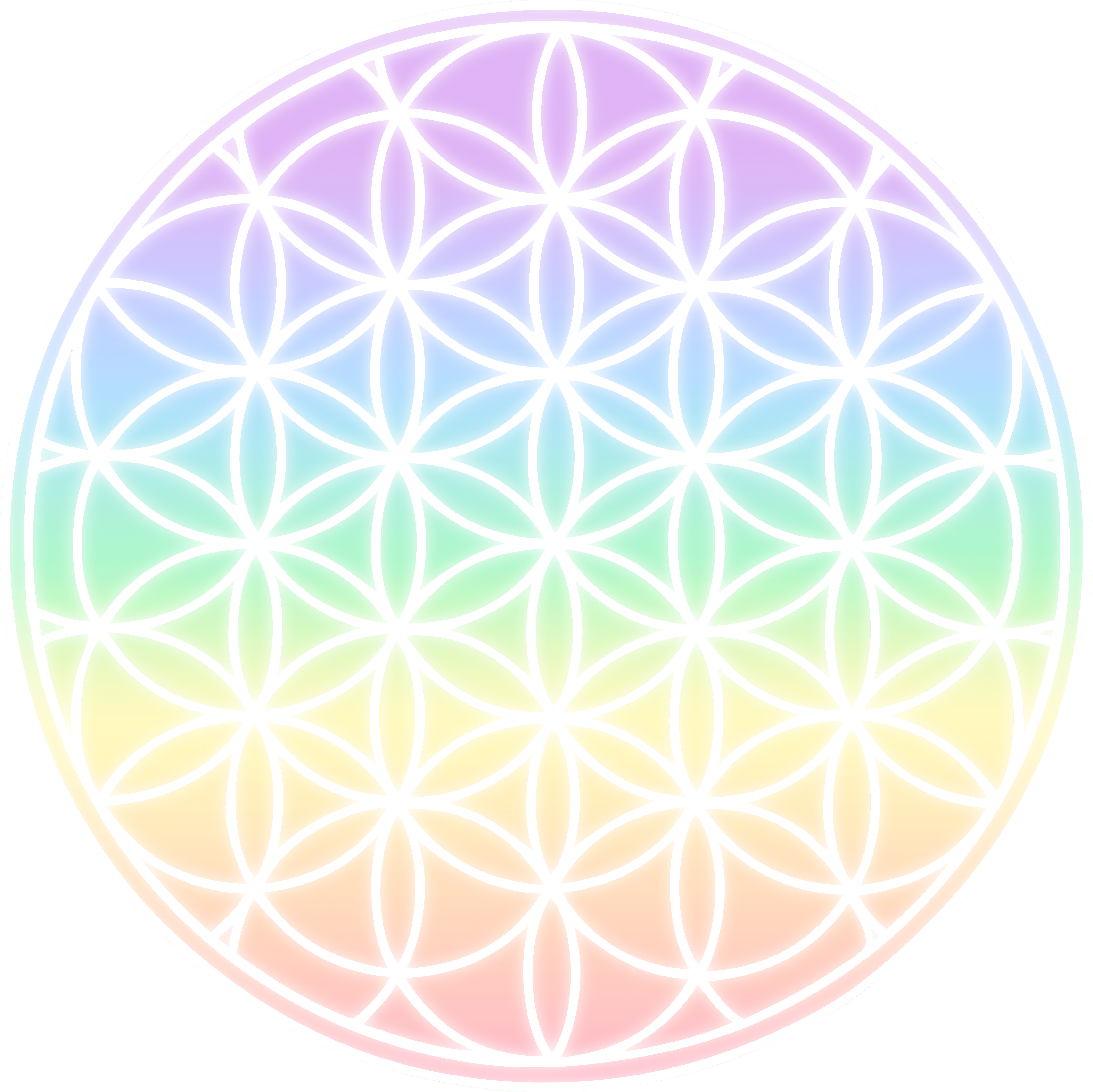 Flower of life clipart graphic free Rainbow Flower of Life Symbol - Free Clip Art graphic free