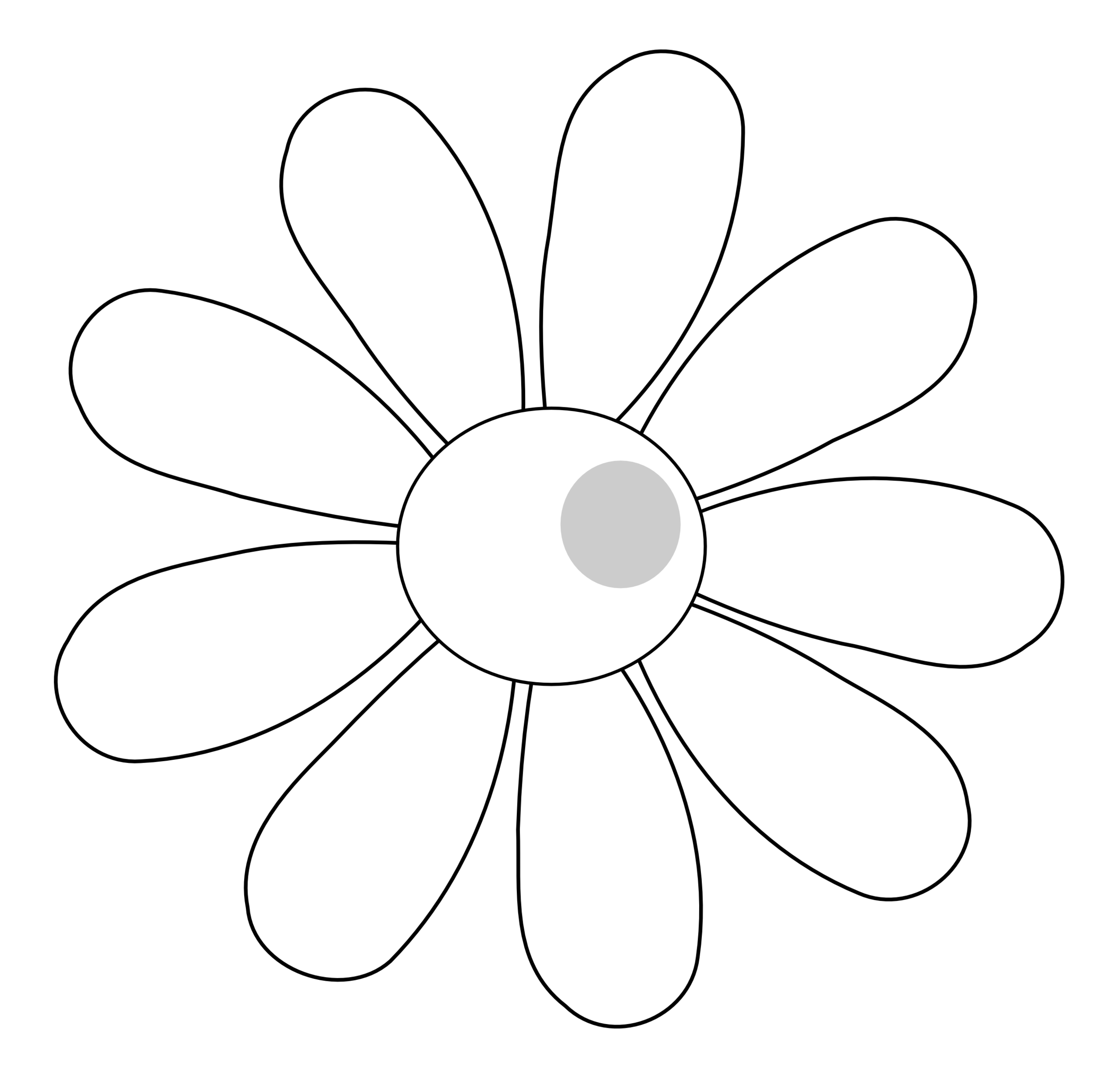 Rose flower clipart black and white png library download Flower Outline Clip Art Daisies – Clipart Free Download png library download