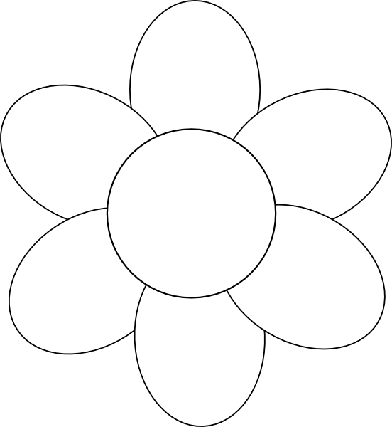 Flower petal clipart black and white vector free download flower template free printable - Google Search | applique ... vector free download