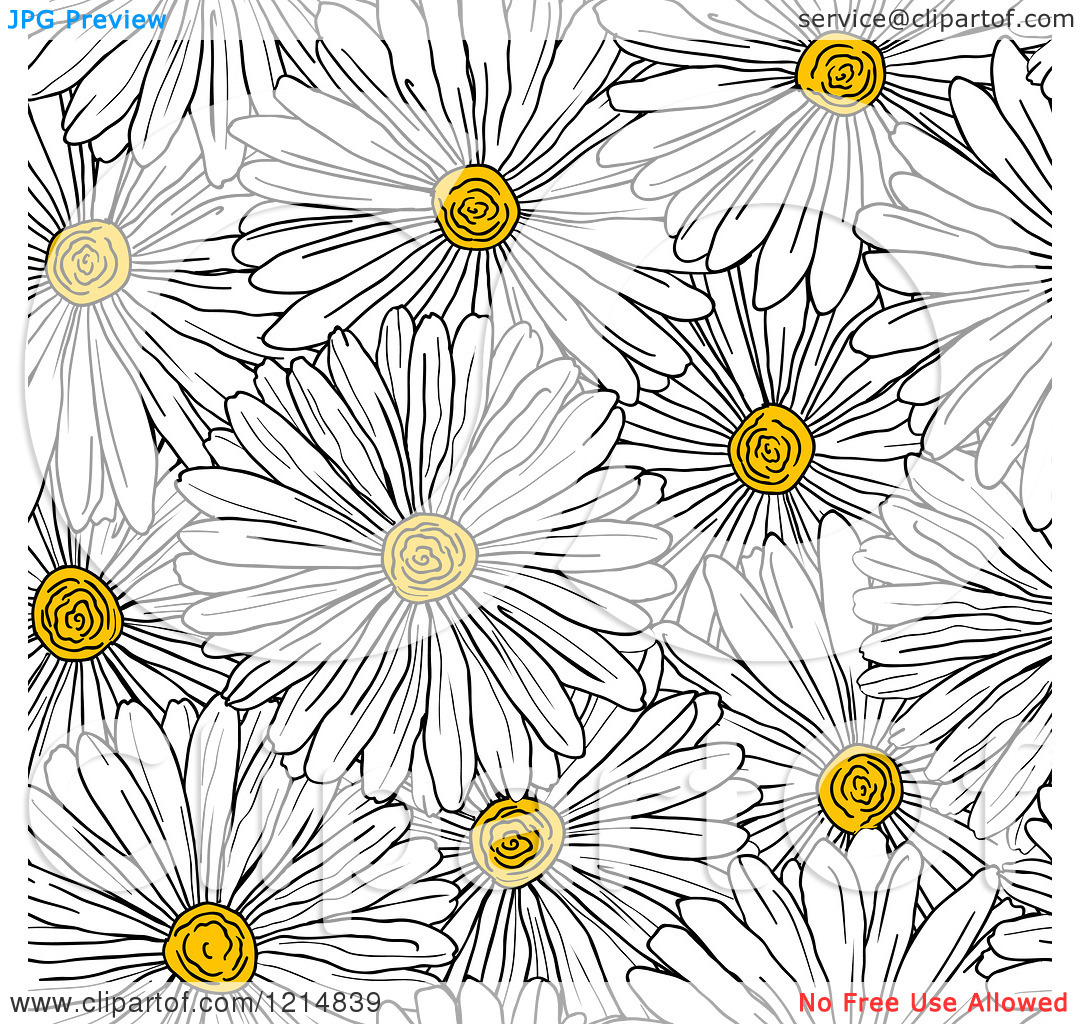 Flower patterns clipart jpg library library Clipart of a Seamless White Daisy Flower Pattern - Royalty Free ... jpg library library