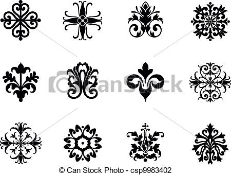 Flower patterns clipart png royalty free Vector Illustration of Flower Patterns - A series of symmetrical ... png royalty free