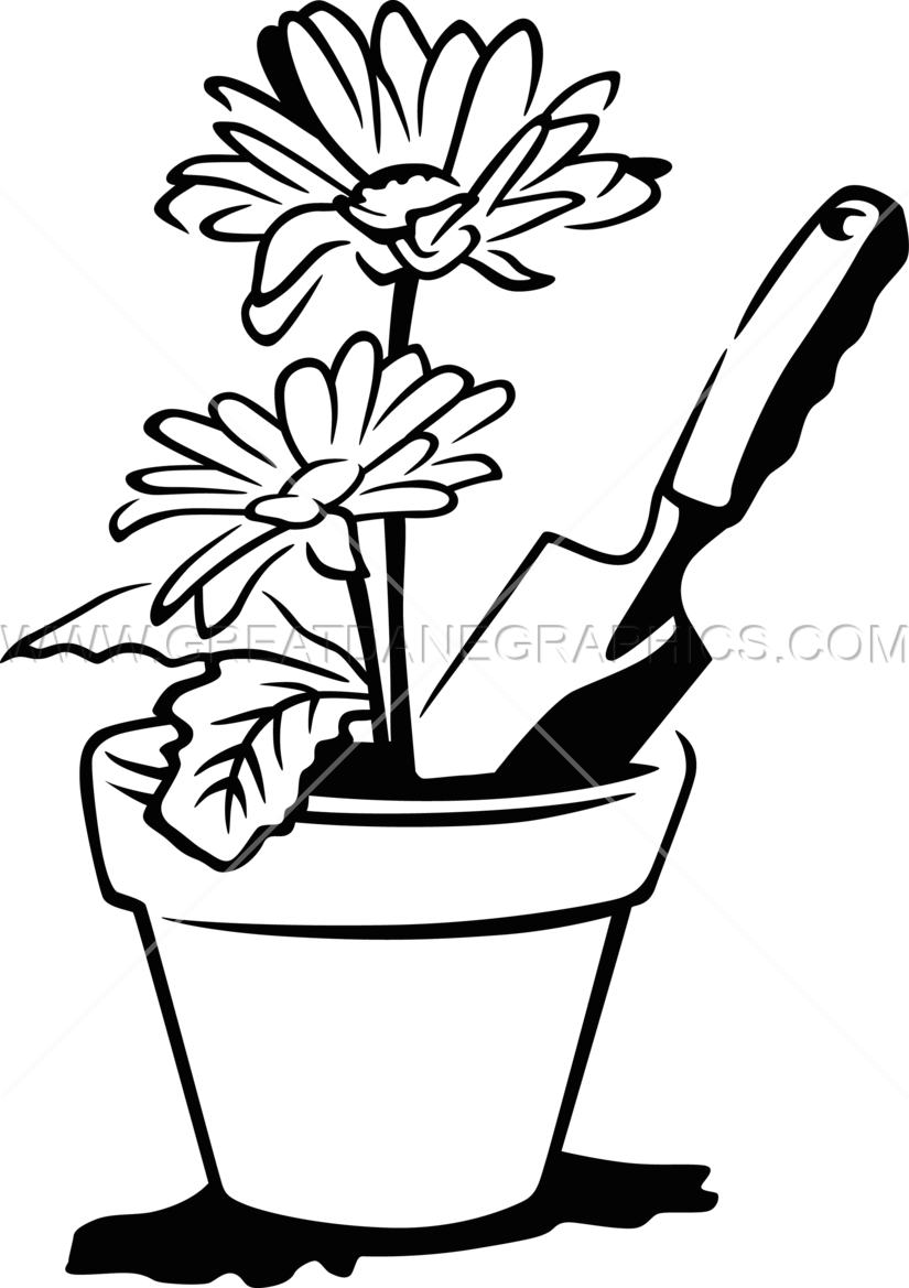 Flower pot with stems clipart black and white clip art transparent library Flower Pot Clipart Black And White | Free download best Flower Pot ... clip art transparent library