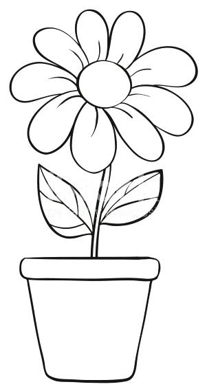 Pots boogiewoogiebrody com . Flower pot with stems clipart black and white
