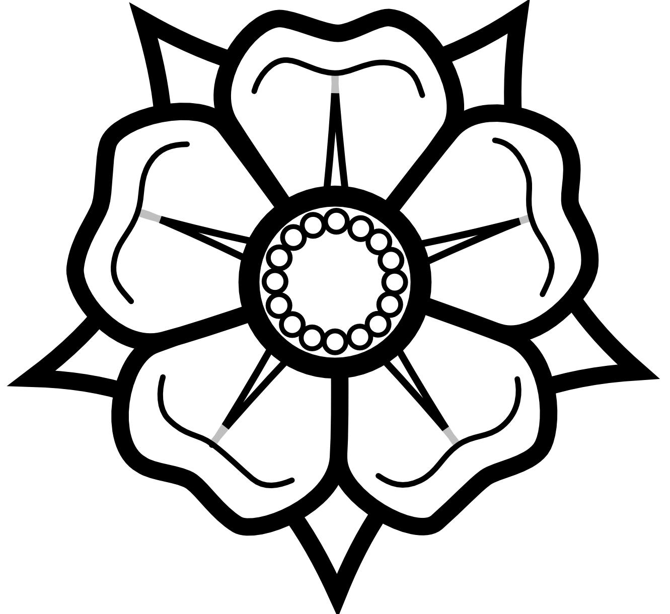 Rose flower clipart black and white png free stock Heraldisch Lippische Rose Black White Line Art Tattoo Tatoo Flower ... png free stock