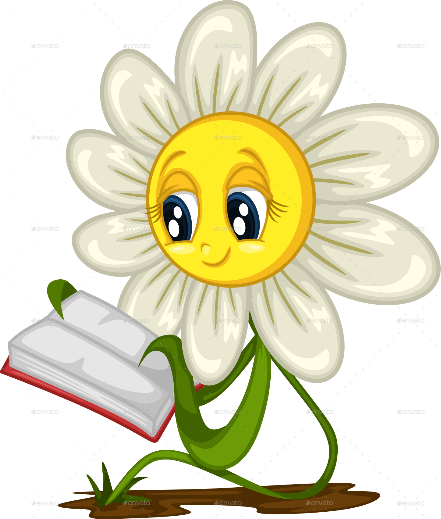 Flower reading clipart clip art library Cartoon Daisy Stickers for Different Situations by AnniesArt ... clip art library