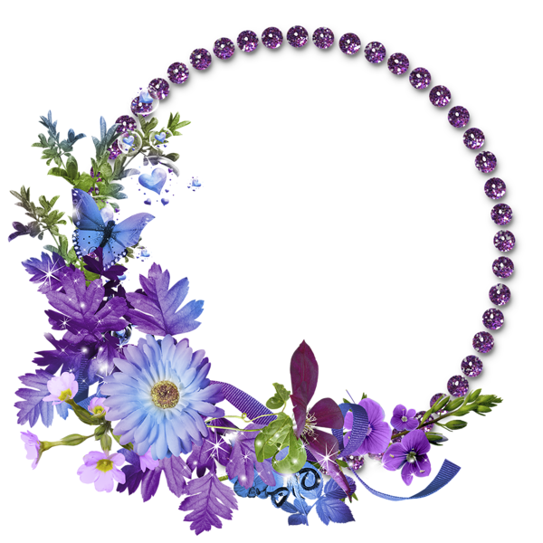 Flower round frame clipart banner library stock Free Flowers Graphic Frames | Beautiful Purple Round Flowers ... banner library stock