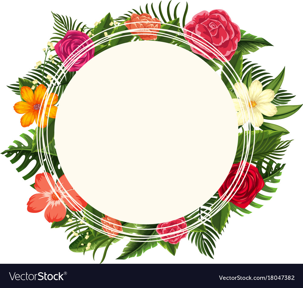 Flower round frame clipart banner free stock Round frame with different types of flowers banner free stock