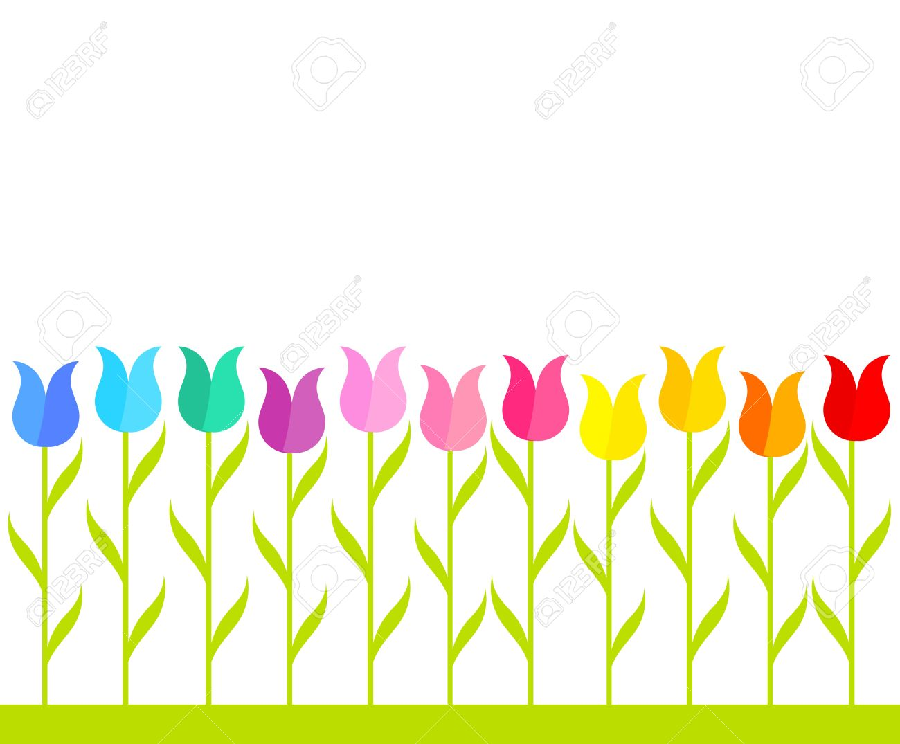 Flower row clipart image freeuse download Row Of Multicolor Tulip Flowers. Vector Illustration Royalty Free ... image freeuse download