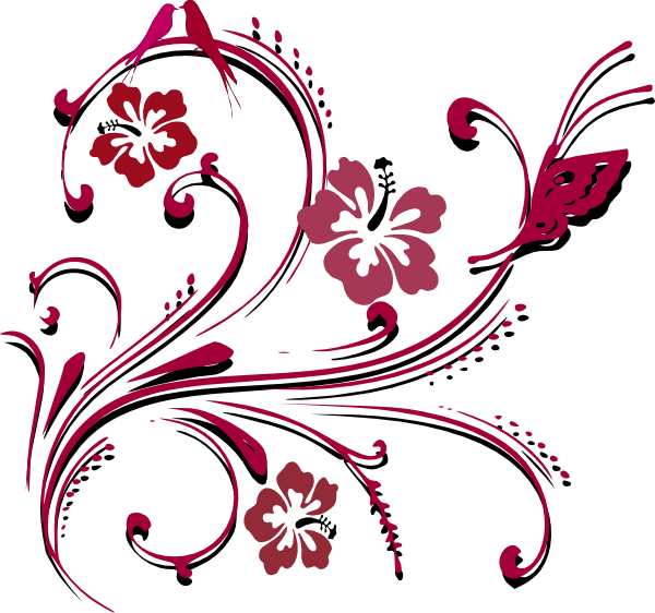 Flower scroll clipart image black and white stock Butterfly Scroll Clip Art at Clker.com - vector clip art online ... image black and white stock