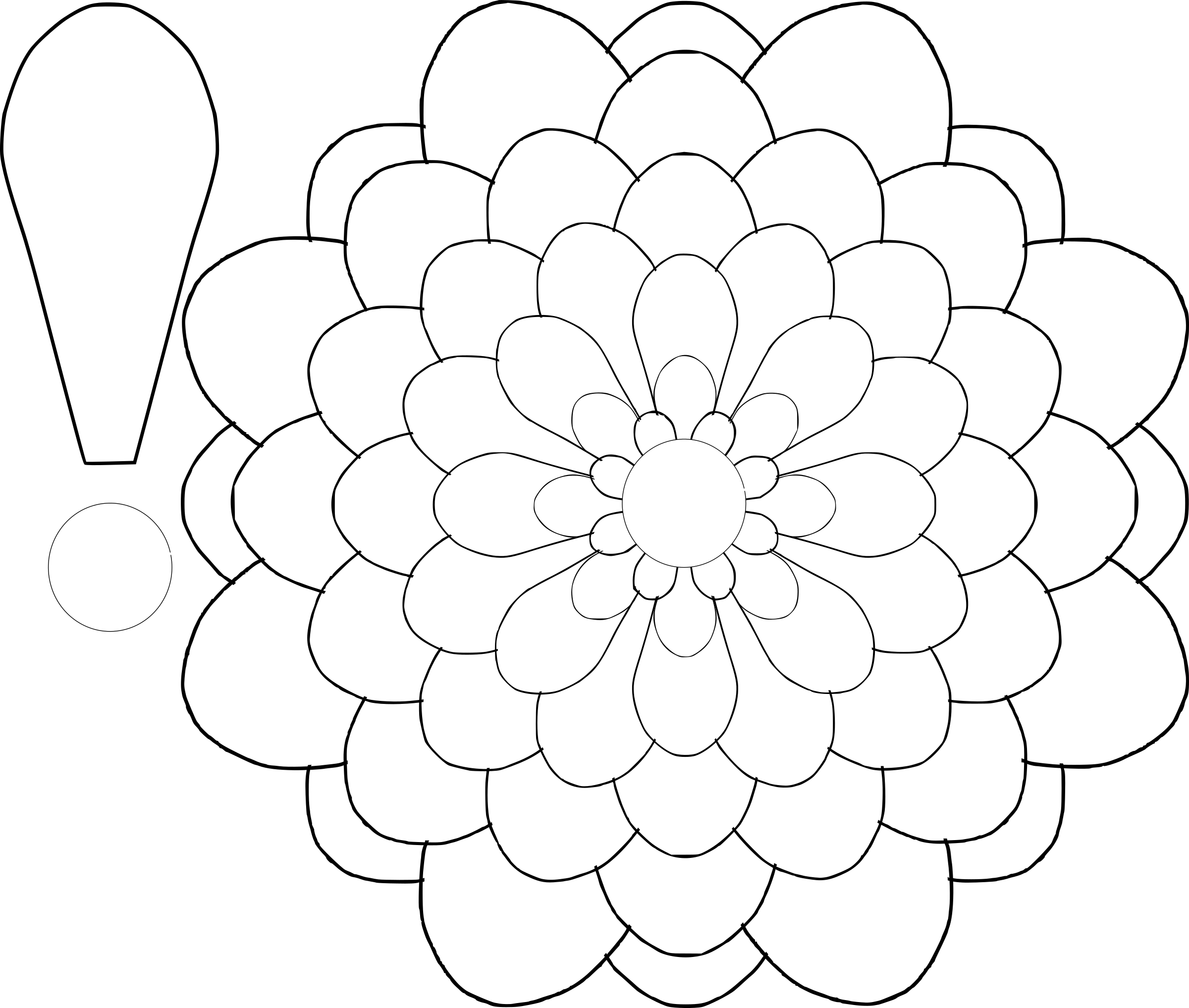 Flower shapes clipart jpg black and white Flower Drawing Template at GetDrawings.com | Free for personal use ... jpg black and white