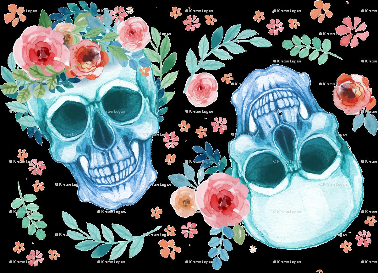 Football skull clipart svg download Sugar Skull Watercolor Spring Flowers wallpaper - khaus - Spoonflower svg download
