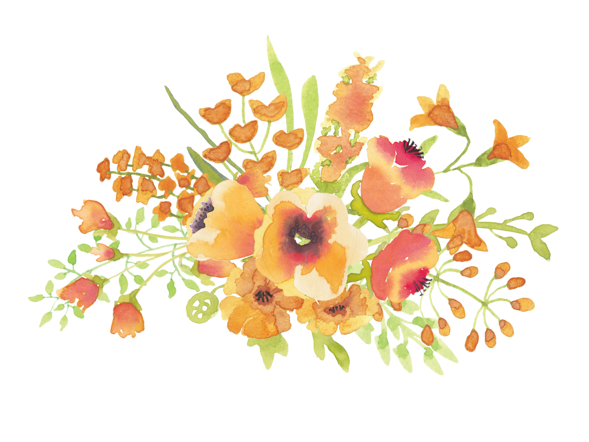 Flower spray clipart png library Clip Art Colorful Flower Sprays – Free Cliparts png library