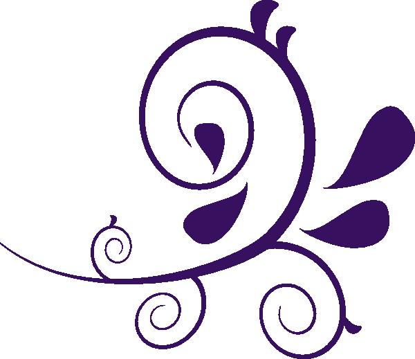 Flower swirls clipart transparent Flower Swirl Clip Art | Purple Swirl Without Dots clip art - vector ... transparent
