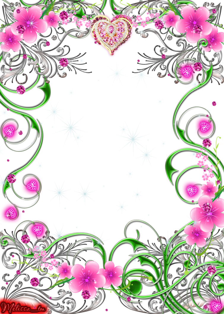 Flower swirls clipart svg royalty free frame swirls with flowers and gems png by Melissa-tm on DeviantArt svg royalty free