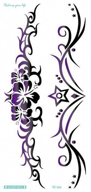 New black butterfly design. Flower tattoo belly clipart