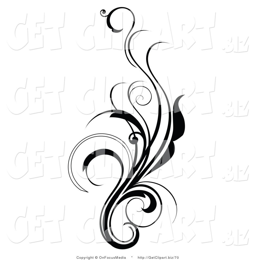 Flower tattoo belly clipart clip transparent library Clip Art of an Elegant and Curly Black and White Design Scroll ... clip transparent library