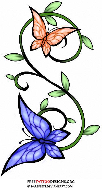 Flower tattoo belly clipart.  butterfly tattoos feminine