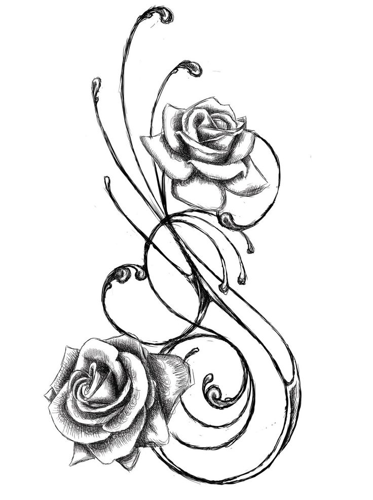 Rose line drawing free. Flower tattoo belly clipart