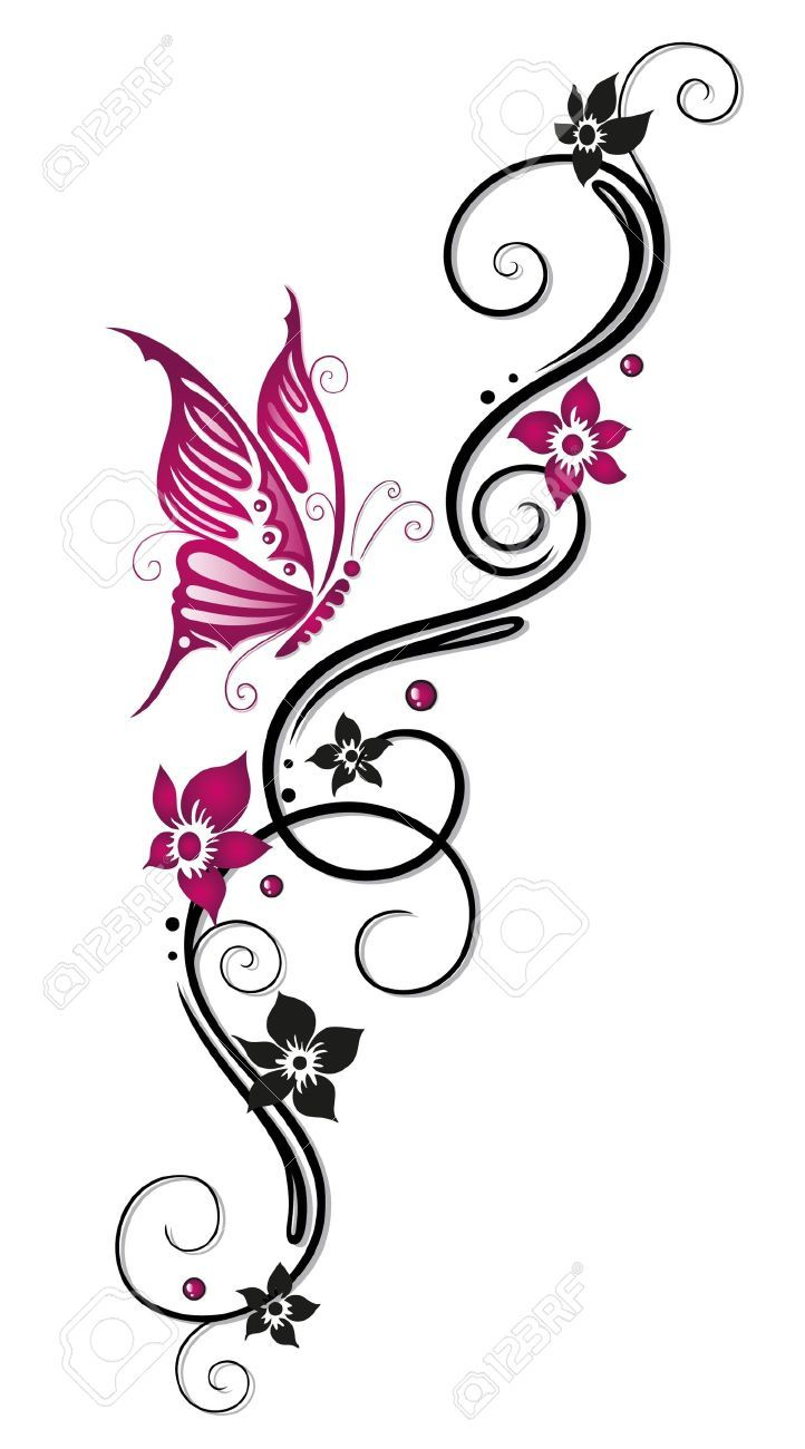 Flower tattoo belly clipart. Floral tribal in black