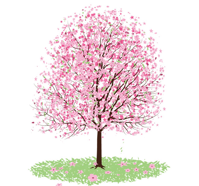 Flower tree clipart png library Pink Cherry Blossom Tree Vector | Free Tree Vector | Free ... library