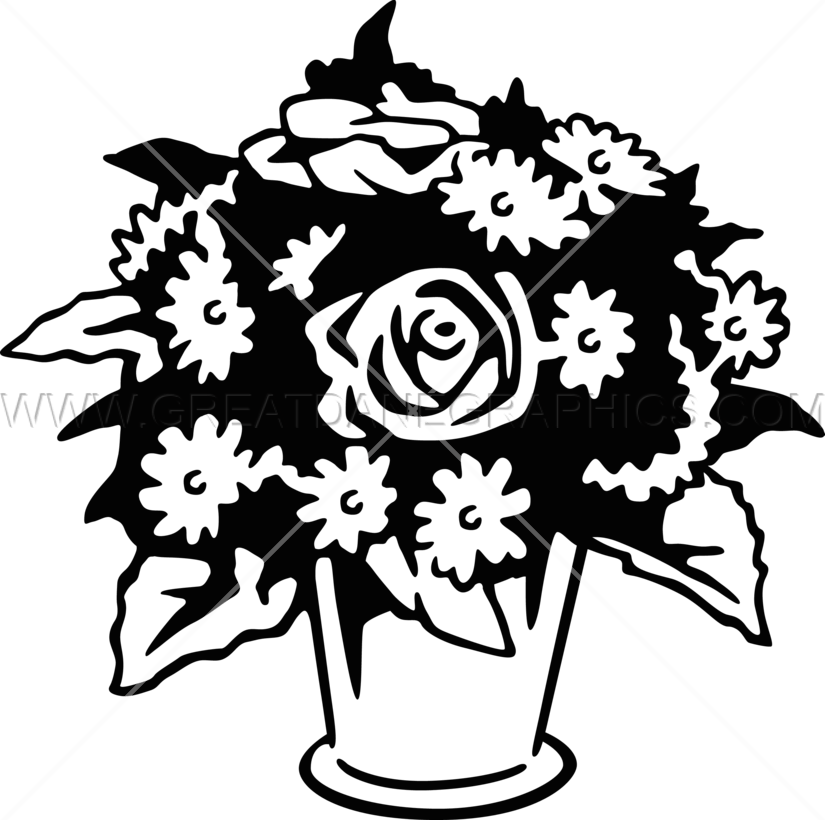 Flower vase clipart black and white jpg Flowers & Vase   Production Ready Artwork for T-Shirt Printing jpg
