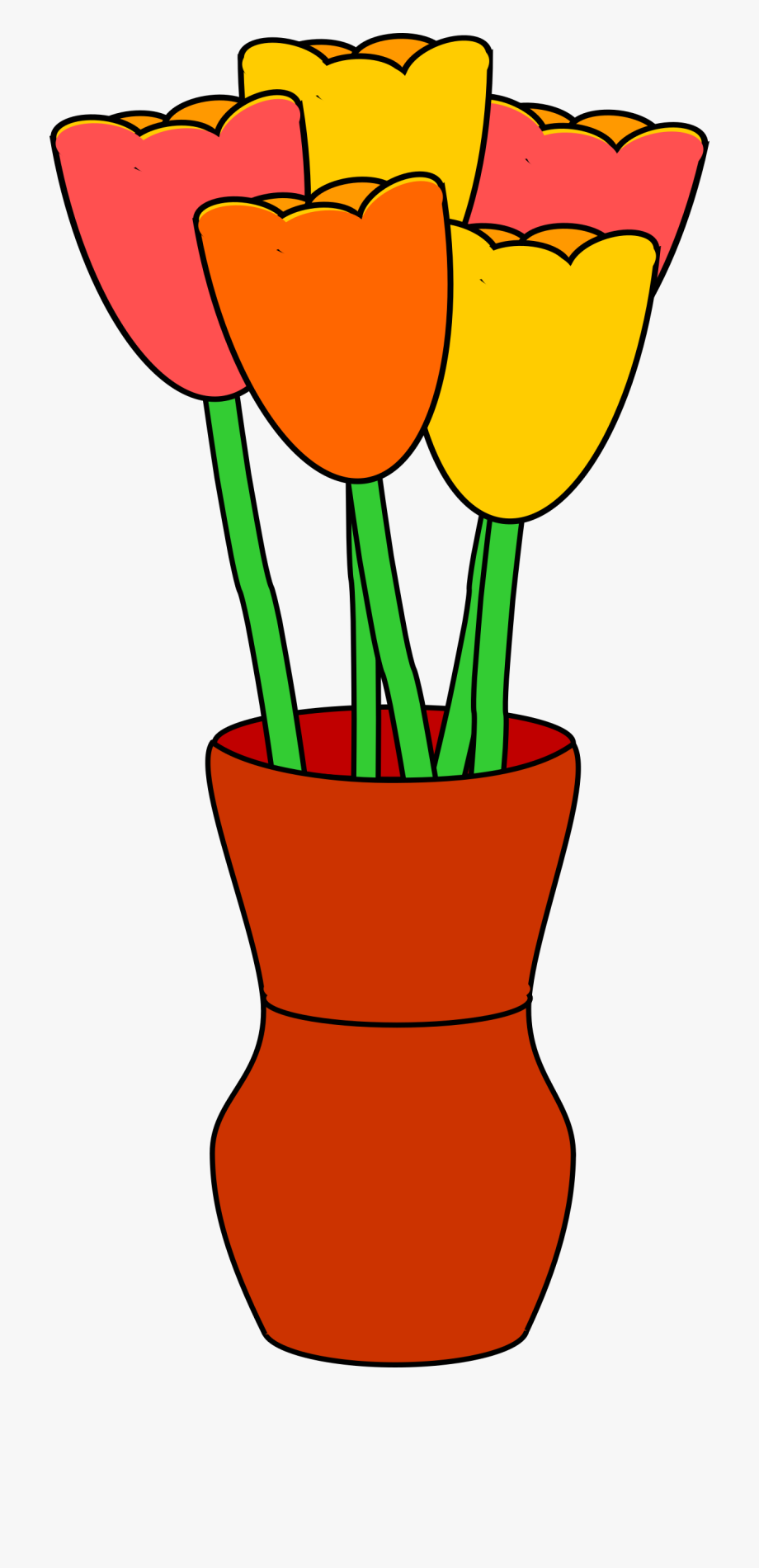 Vases with flowers clipart clip free Vase With Multicolored Tulips - Flower Vase Clip Art #163818 - Free ... clip free