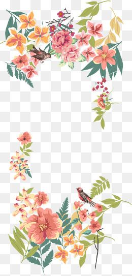 Flower vector border clipart png library 2019 的 Vector Hand Painted Flower Borders, Pink, Bougainvillea ... png library